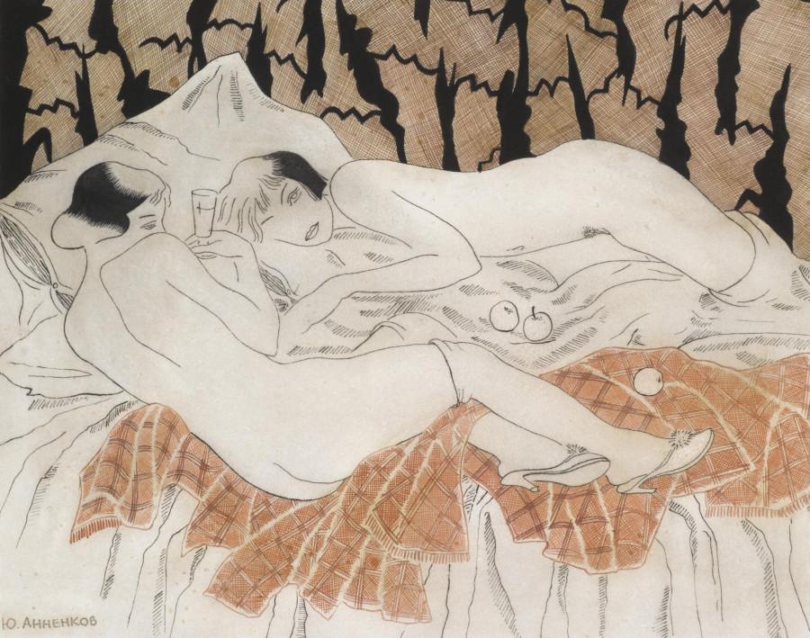 Анненков Юрий Павлович, 1889-1974. Две обнаженных в постели. 25 х 31.5 см. акварель, перо и чернила. Частнаяколлекция