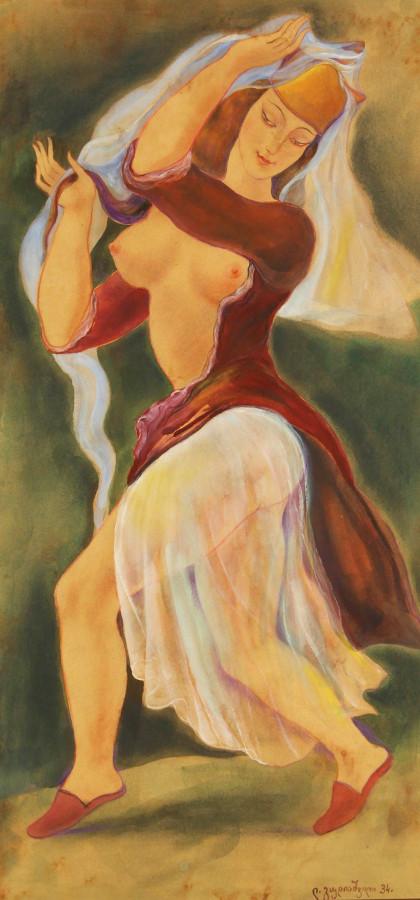 Гудиашвили, Ладо Давидович, 1896-1960. Танцовщица с обнаженной грудью. 1934. 66 x 33. д..м. Частная коллекция