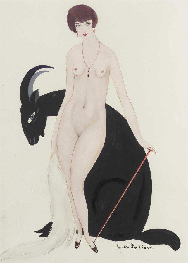 Залюк, Александр Давидович, 1887-1971. Козерог. 45 x 32. карандаш, акварель, бумага. Частная коллекция