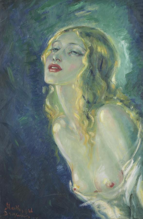 Иванов, Павел Петрович, 1891-1967. Обнаженная красавица. 1946. 60.2 x 40.7. х.,м. Частная коллекция