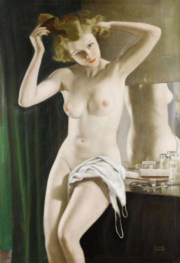 Иванов, Сергей Петрович, 1893-1983. Туалет. 100 x 70 см. х.,м. Частная коллекция