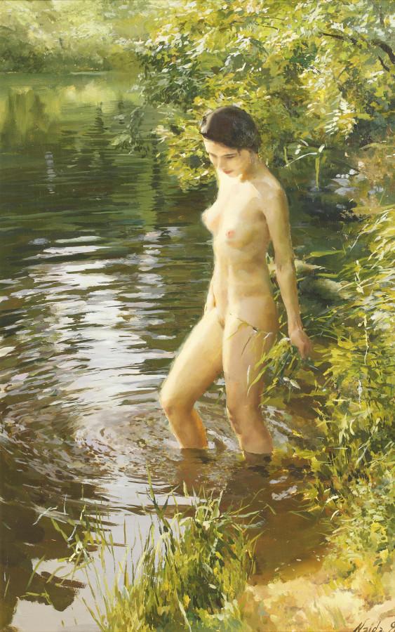 Найда Дмитрий, род в 1969. Юная купальщица. 81.5 x 51.5 см. Частная коллекция