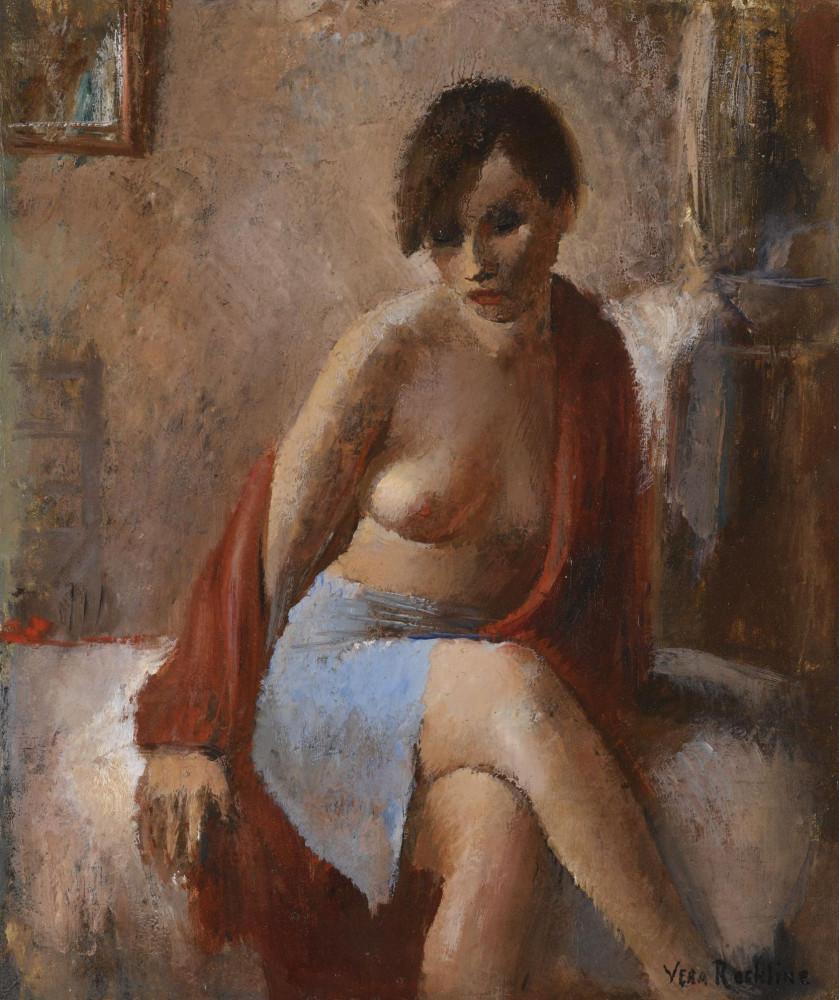 Рохлина Вера Николаевна, 1896-1934. Портрет женщины в голубой юбке. 55 х 46 см. Частная коллекция