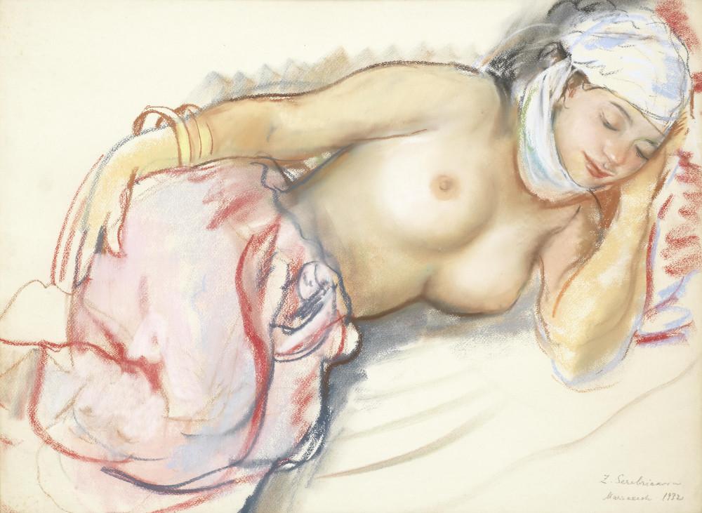 Серебрякова, Зинаида Евгеньевна, 1884-1967. Этюд женщины. 1932. 48 х 63 см. пастель. Частная коллекция