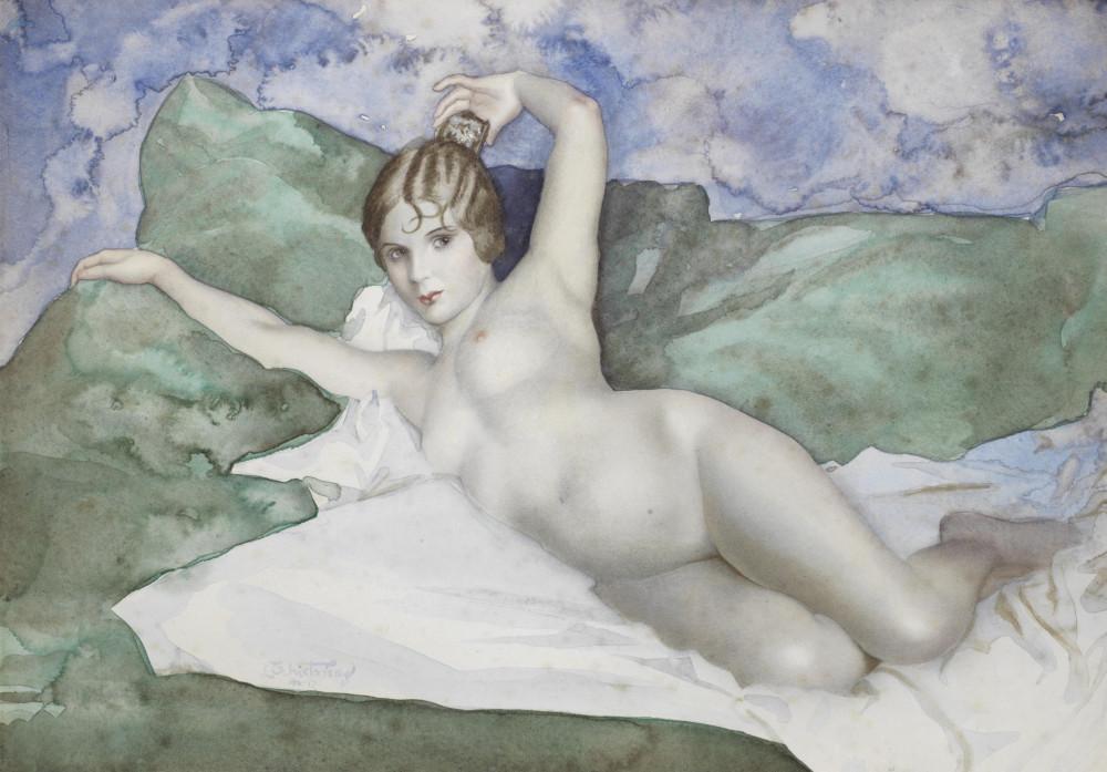 Чистовский, Лев, 1902-1969. Лежащая обнаженная. 33 x 46 см. акварель, бумага. Частная коллекция