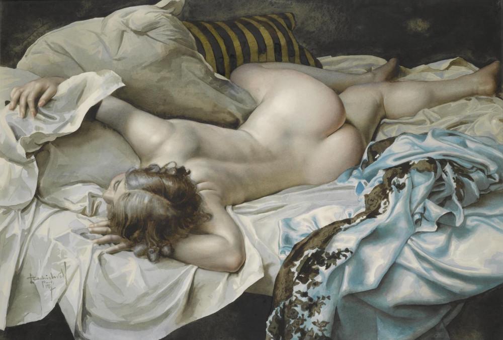 Чистовский, Лев, 1902-1969. Лежащая обнаженная. 54 х 67 см. Частная коллекция