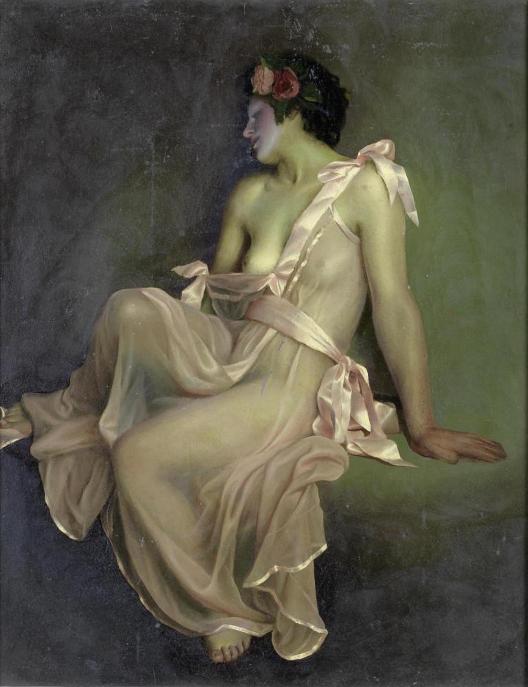Чистовский, Лев, 1902-1969. Обнаженная в розовом платье. 61 x 50 см. картон, масло. Частная коллекция