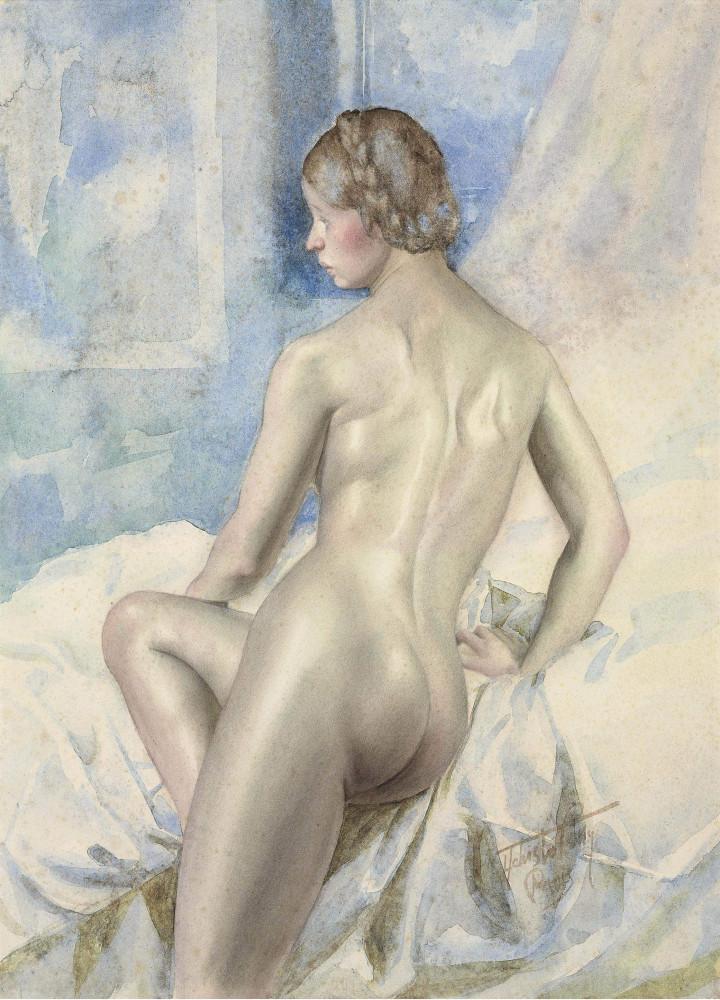 Чистовский, Лев, 1902-1969. Обнаженная с повернутой головой. 47 x 34 см. акварель, бумага. Частная коллекция