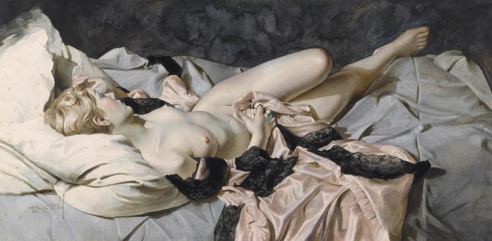 Чистовский, Лев, 1902-1969. Обнаженная, лежащая с розовым платьем. 1917. 46 x 94. акварель, бумага. Частная коллекция