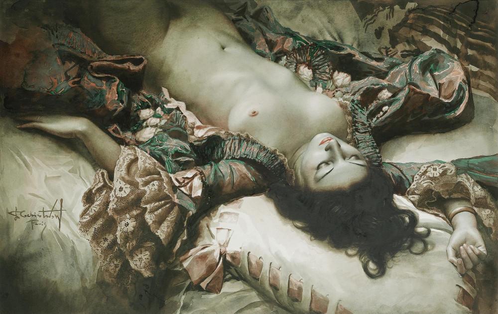Чистовский, Лев, 1902-1969. Спящая обнаженная. 56 х 89. бумага, акварель. Частная коллекция