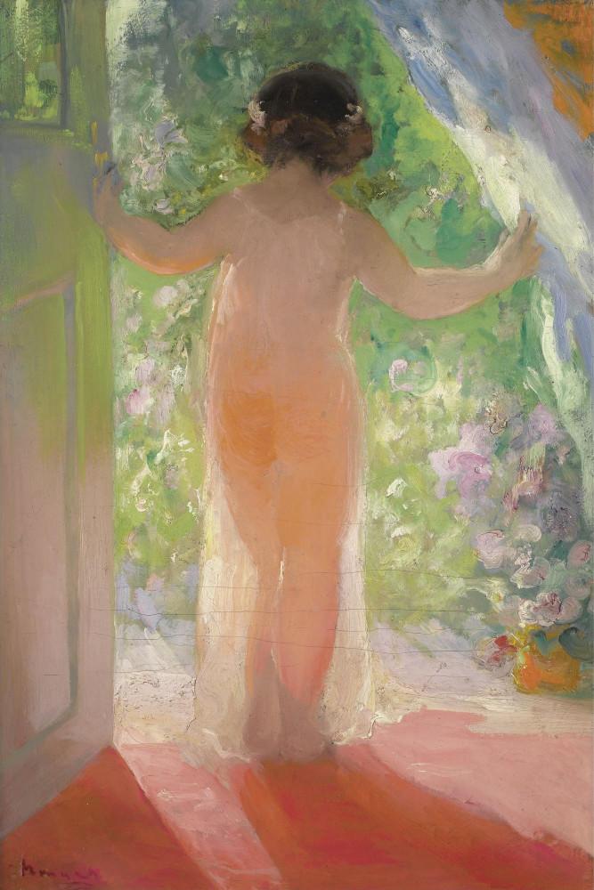 Шмаров Павел Дмитриевич, 1874-1955. 73.5 х 50.5 см. Девушка в дверях. Частная коллекция