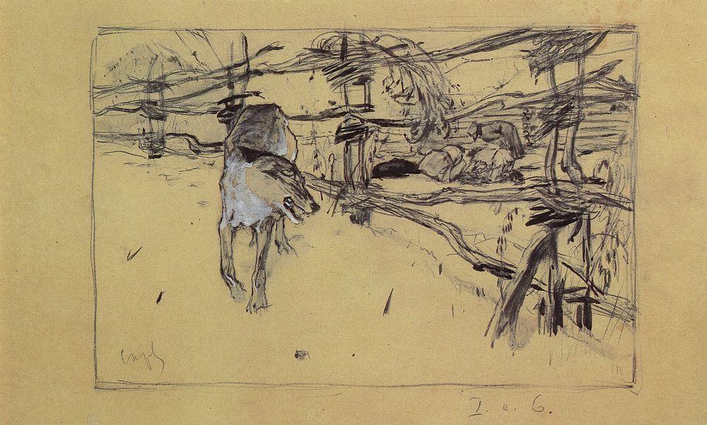 Волк и пастухи. 1898