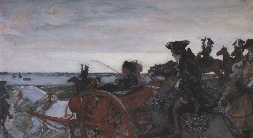 Выезд Екатерины II на соколиную охоту. 1902
