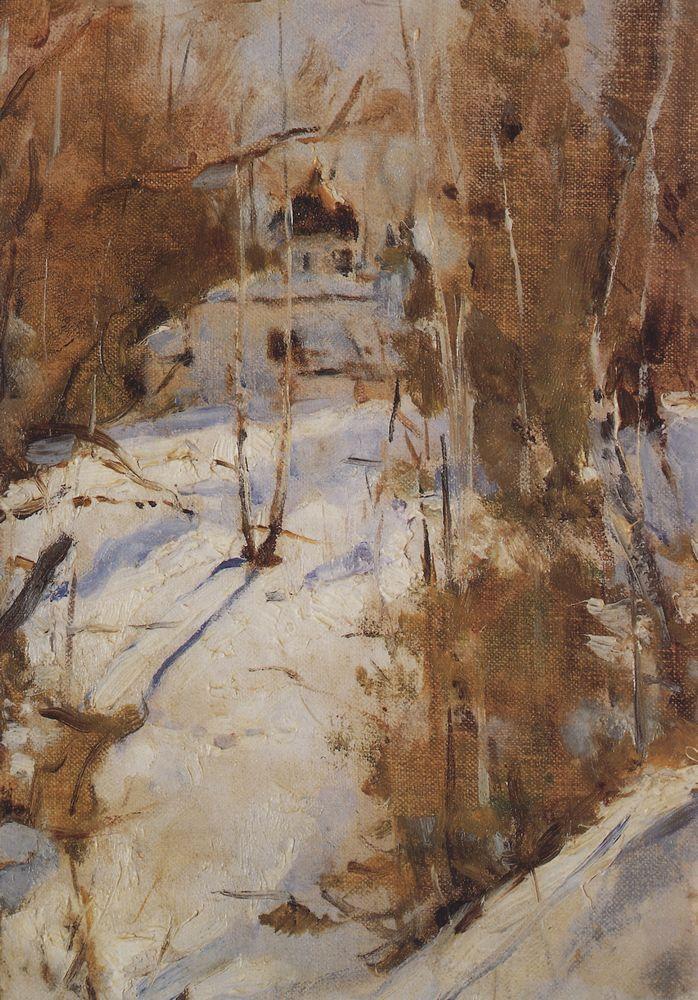 Зима в Абрамцево. Церковь. 1886