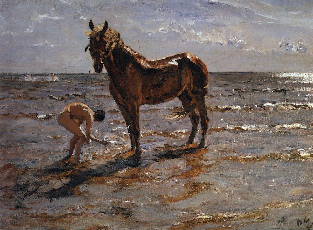 Купание лошади. 1905