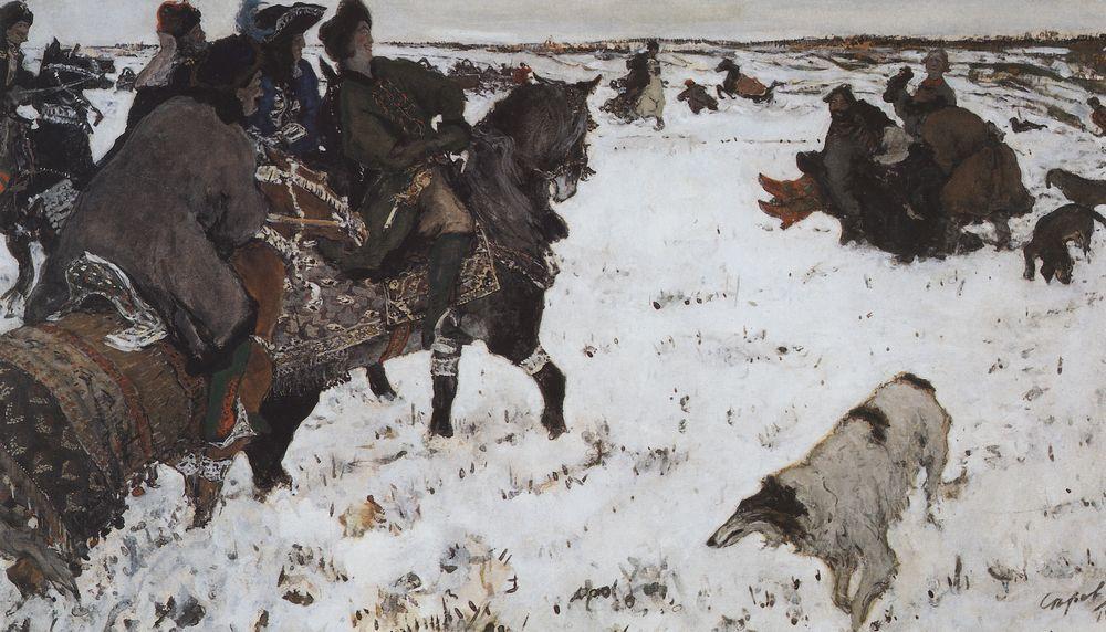 Петр I на псовой охоте. 1902