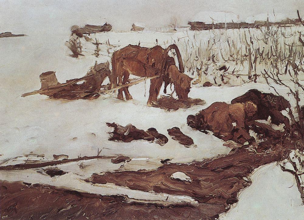 Полосканье белья (На речке). 1901