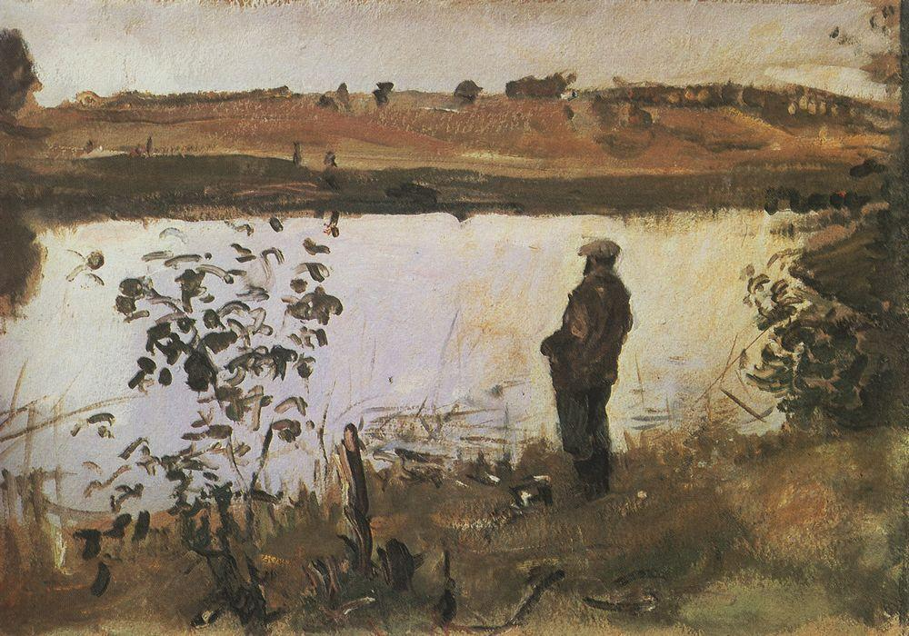 Художник К.А.Коровин на берегу реки. 1905