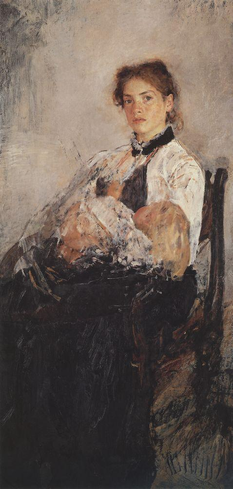 Портрет Н.Я.Дервиз с ребенком. 1888-1889