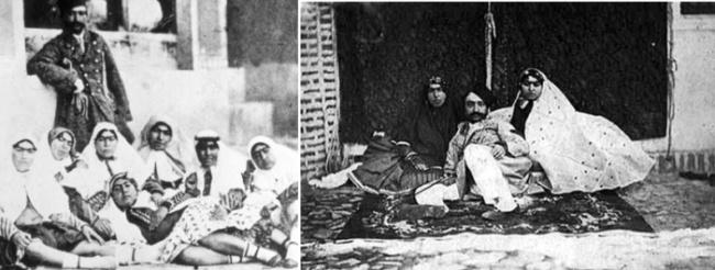 Насер ад-Дин Шах Каджар c некоторыми женщинами из гарема