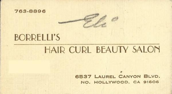 Borrelli's Hair Curl Beauty Salon card