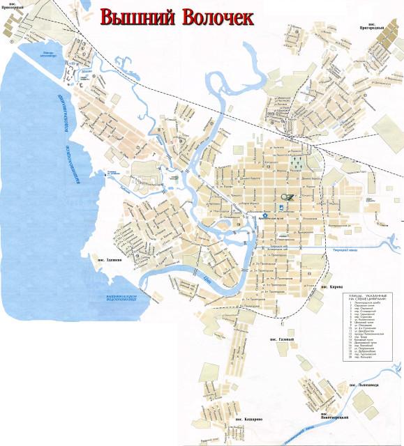 Карта Вышнего Волочка.