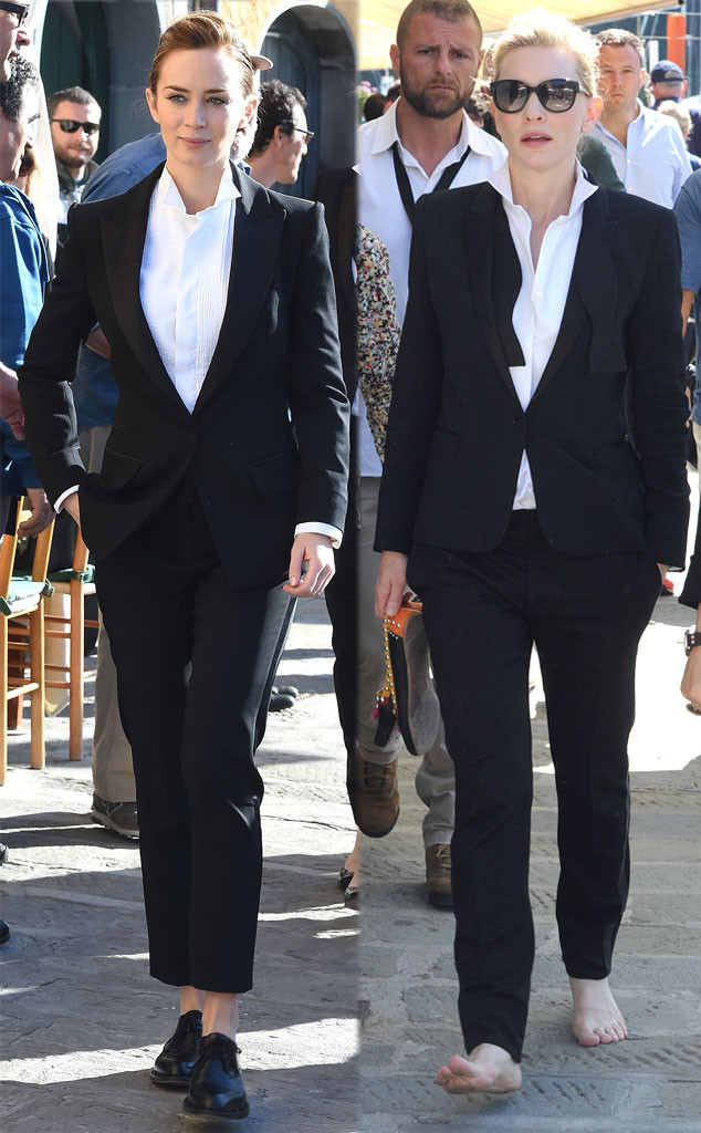 Emily Blunt Vs Cate Blanchett In Men S Tuxes Oh No They