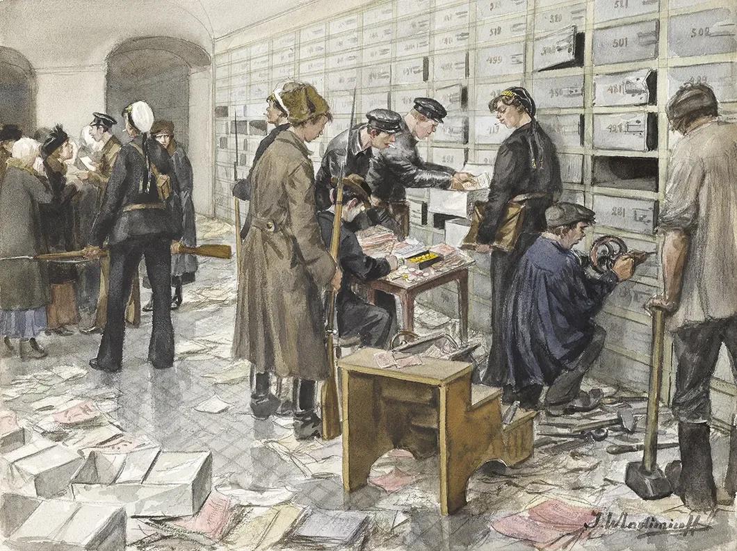 «Конфискация ценностей из сейфов. Банк Вавельберга, март 1919». Коллекция А. Ружникова