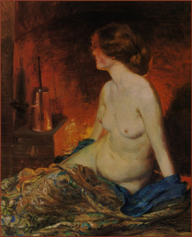 Guy Rose Nude Figure By Firelight. 1910 г.