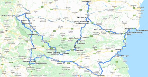 Карта путешествия. 4 страны, 3 недели, 2000 километров
