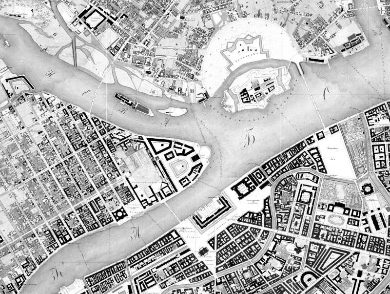 Фрагмент Подробного плана Санкт-Петербурга 1828 года (под начальством ген.-майора Шуберта)
