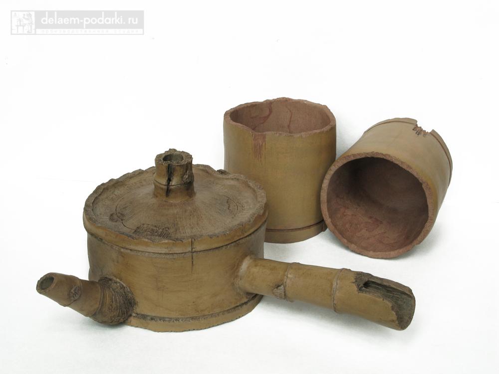 чайник и пиалки под бамбук