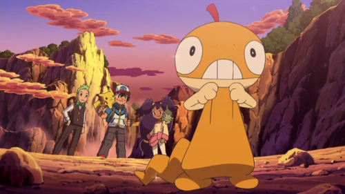 The Pokemon Scraggy holding its skin pants up.