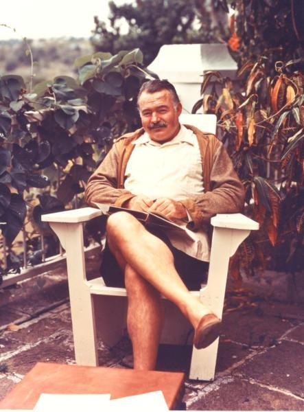 Ernest Hemingway at his Cuban home the Finca Vigia in 1947