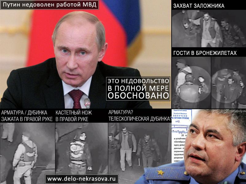 Путин недоволен работой МВД. Работа МВД недостаточно эффективна, заявил Путин. Нераскрытым в России остается практически каждое второе преступление, работа органов внутренних дел выстроена недостаточно эффективно, заявил президент РФ Владимир Путин. «В целом по России остаются нераскрытыми почти 45% преступлений (44,4%). Практически каждое второе. Это явный, очевидный факт, свидетельствующий о недостаточно эффективно выстроенной работе органов внутренних дел», — сказал Путин, выступая на ежегодной коллегии МВД РФ. 20 октября 2012 года в Зеленограде местный мотоциклист Юрий Некрасов в своем гараже дал отпор более чем 40 вооруженным лицам, приехавшим в ночи на 15 автомобилях. Нападавшие скрылись от полиции, увезя с собой раненного, а так же взяв заложника, что явно и однозначно зафиксировано на видеозаписях камер наружного наблюдения. 21 октября зеленоградцы подали в полицию заявления по факту вооруженного нападения на них за номерами КУСП: 9947, 9945, 9940, 9948, 9941, 9943. Эти заявления были полицией проигнорированы. Никаких действий по задержанию преступников полицией не проводилось. Подъехавшие экипажи просто дали колонне нападавших уехать.
