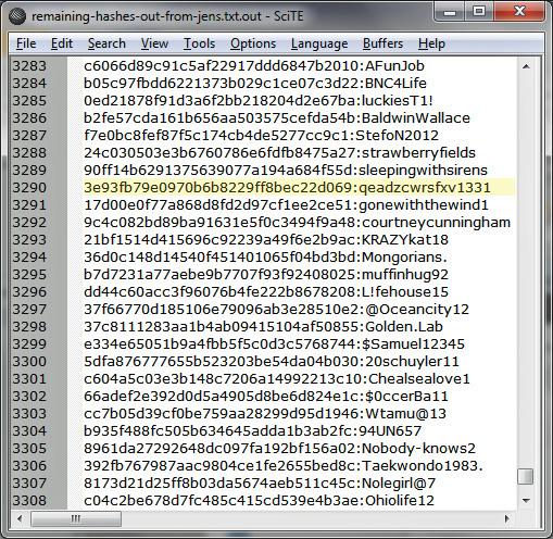 Скриншот демонстрирует некоторые взломанные во время эксперимента пароли. ©Ars Technica