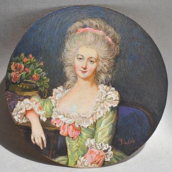 Неизвестный художник. Портрет девушки с лентой в волосах. XIX в.