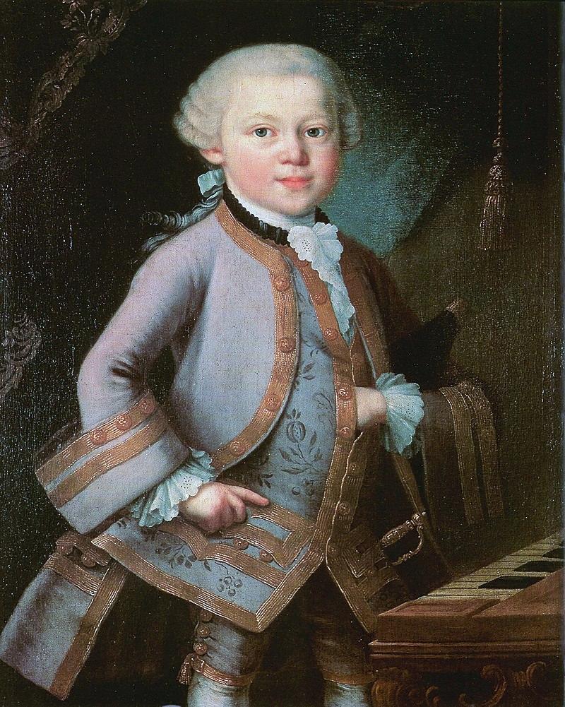 Портрет шестилетнего Вольфганга в костюме, подаренном императрицей. Неизвестный художник, предположительно Пьетро Антонио Лоренцони, 1763 год