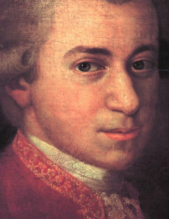 W. A. Mozart, Detail aus einem Gemälde von Johann Nepomuk della Croce (ca. 1781)