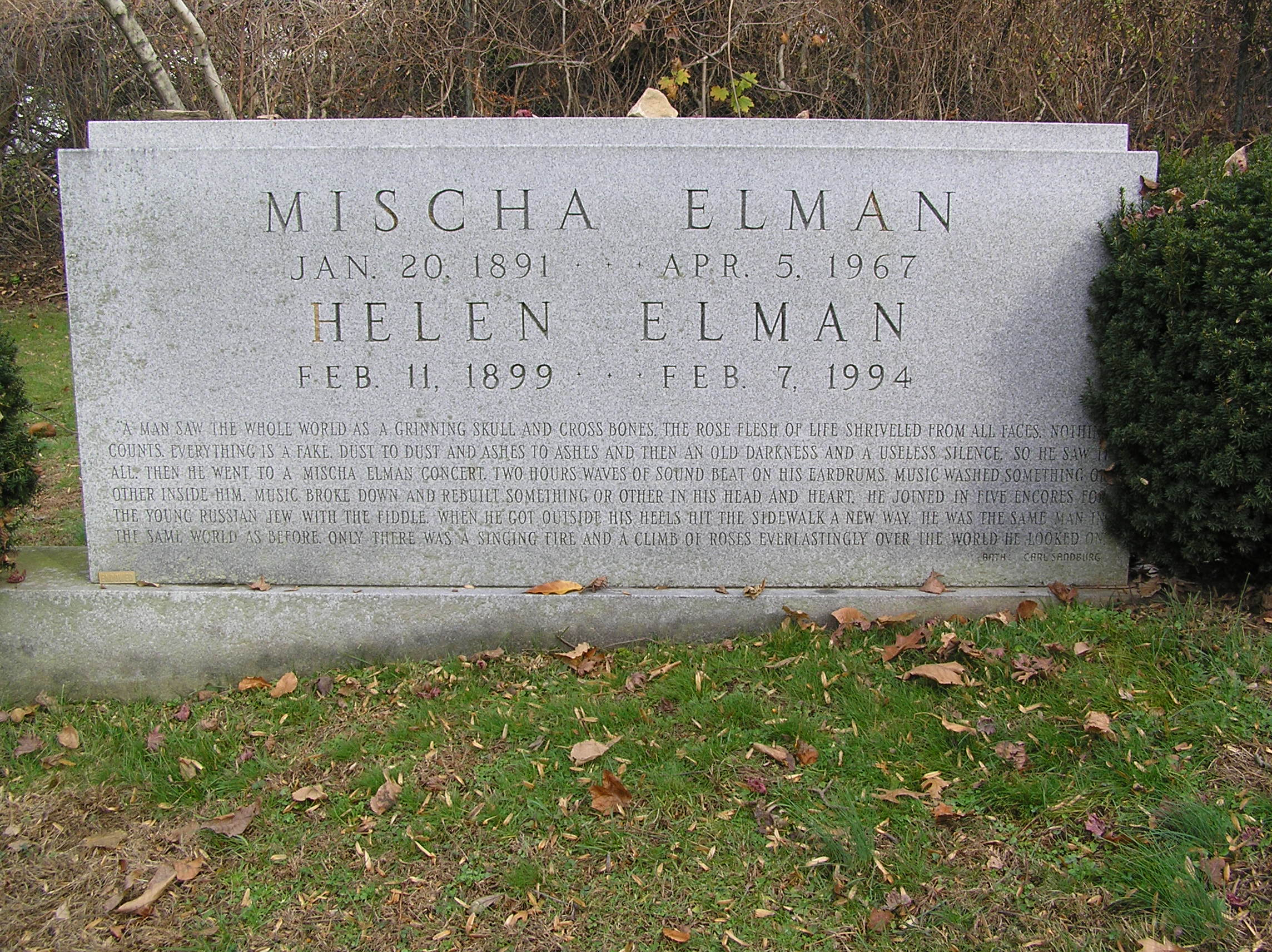 The headstone of Mischa Elman in Westchester Hills Cemetery
