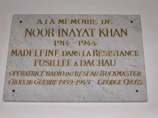 Noor Inayat Khan's memorial plaque at the Dachau Memorial Hall