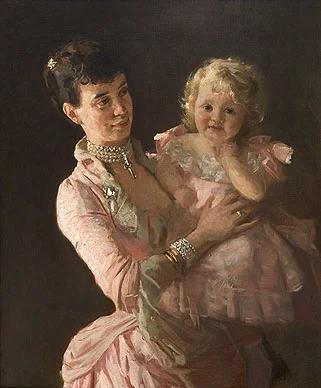 Портрет Лауритса Туксена : Тира с дочерью Ольгой, 1885 г.