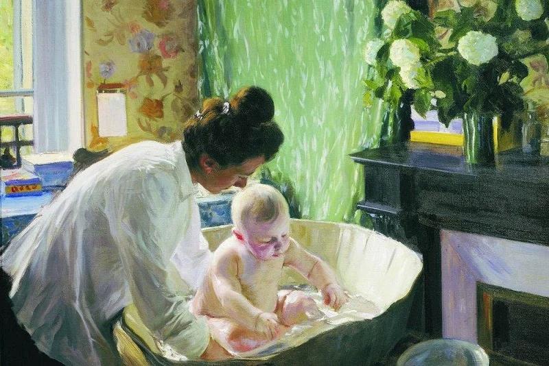 Утро. 1904. На картине изображена супруга художника Юлия Евстафьевна и их первенец Кирилл.