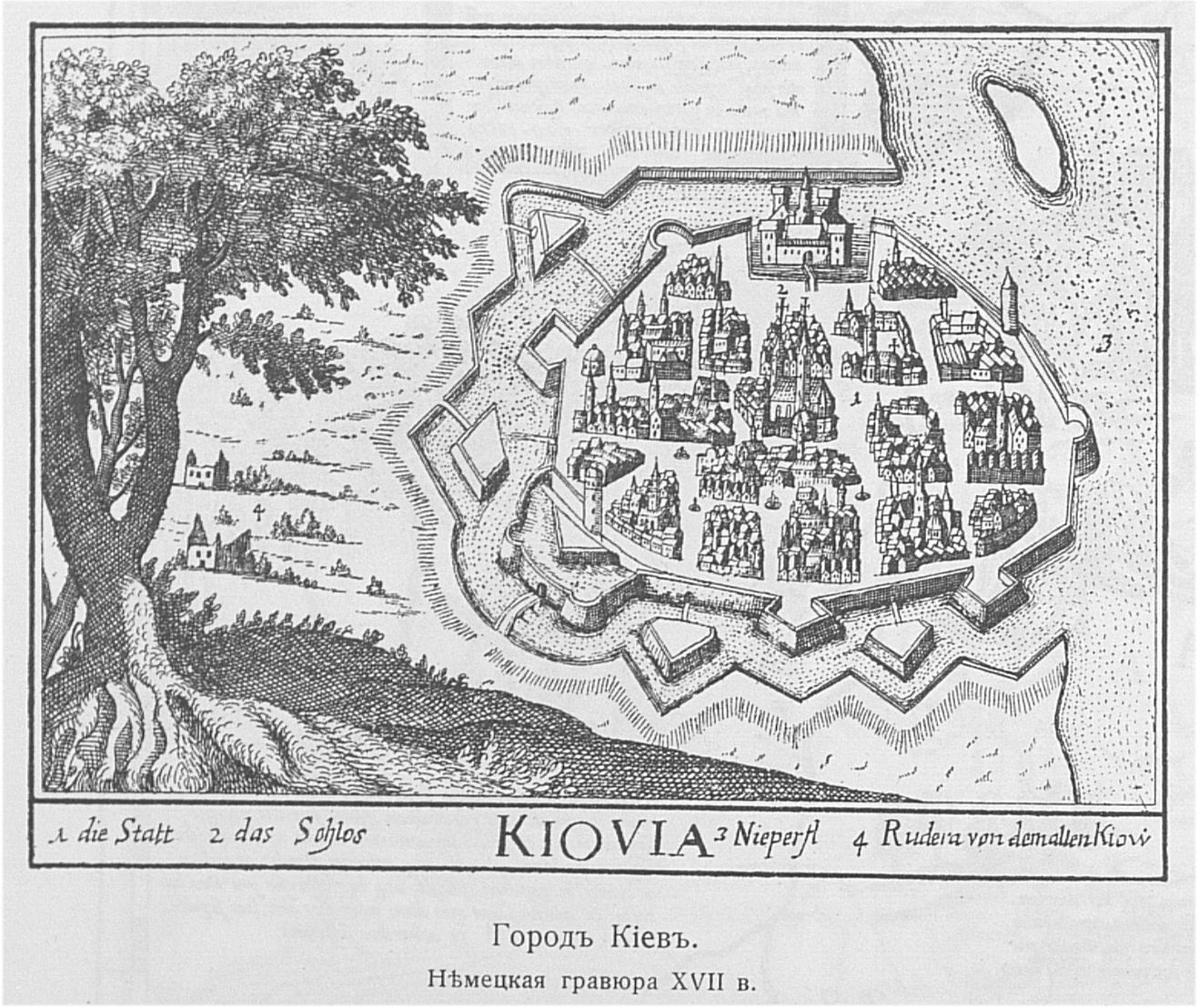 Киев в 17 веке. Гравюра XVII века