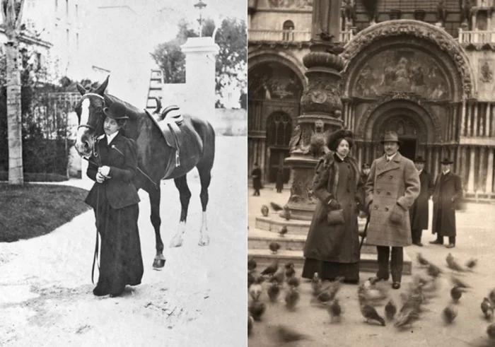 Слева – Мерседес, 1905 г. Справа – Мерседес Еллинек и ее муж, Карл фон Шлоссер, в Венеции, 1909