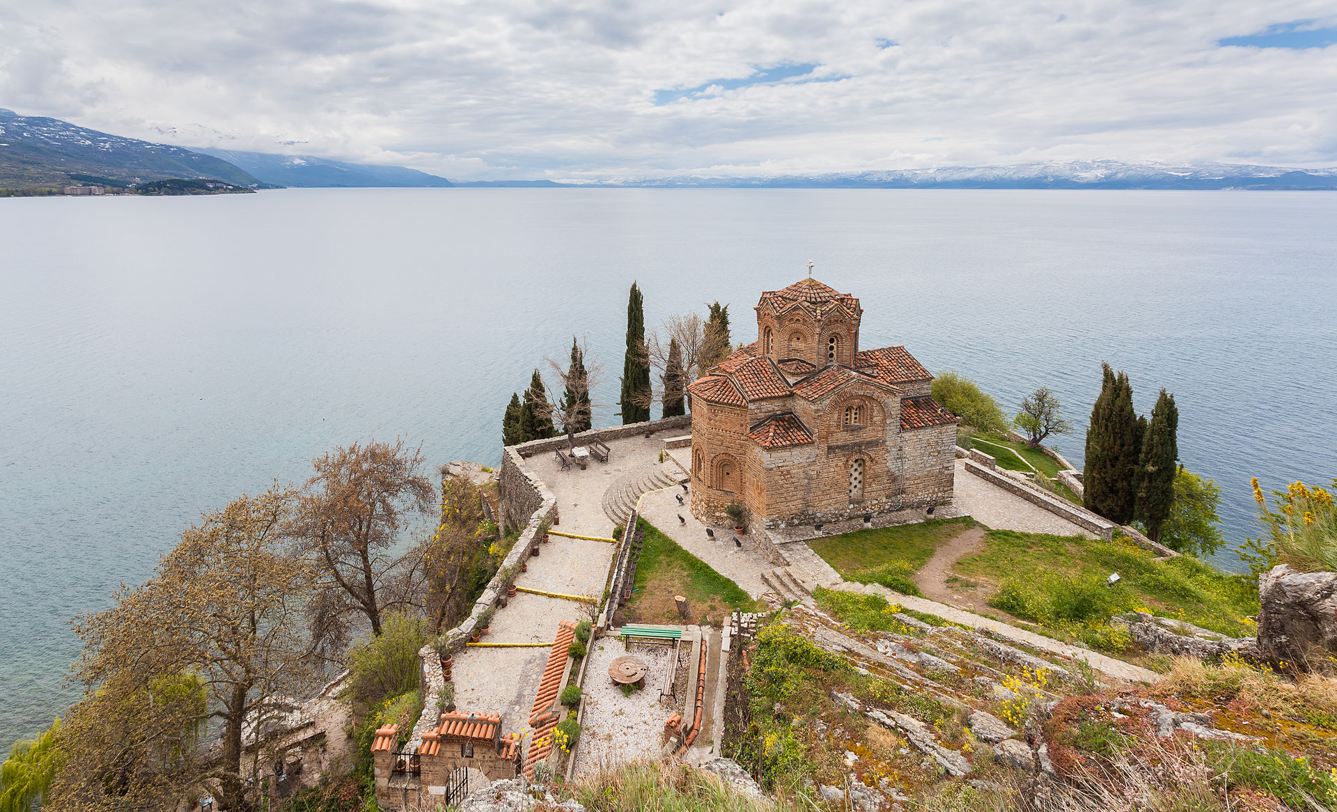 The Macedonian Orthodox church of Saint John at Kaneo, located on the cliff over the Kaneo Beach at the Ohrid Lake nearby the city of Ohrid, Republic of Macedonia, is a pilgrimage iman in the country. The age of the cruciform-shaped temple is uncertain but it was probably erected in the middle of the 14th century.