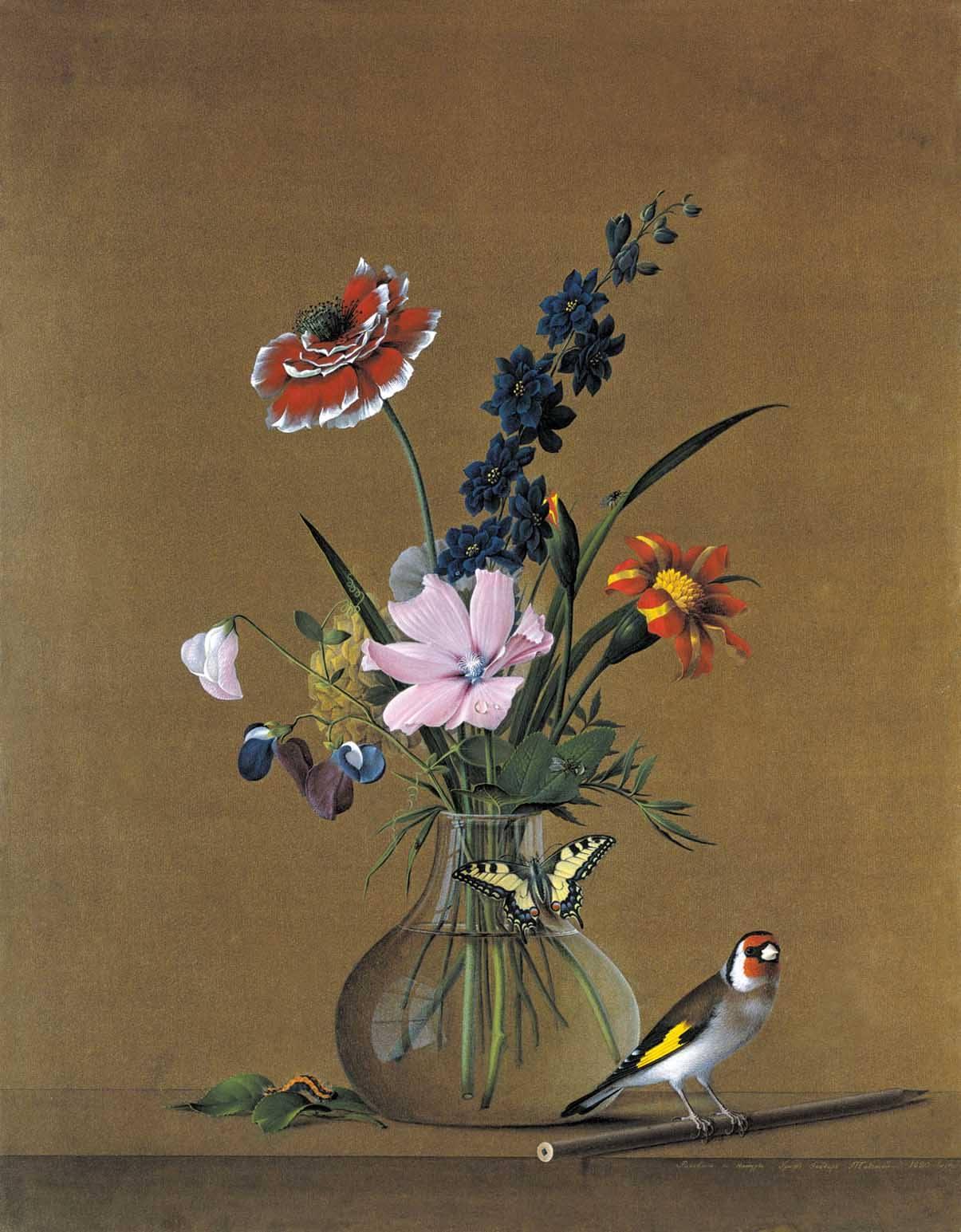 """Фёдор Петрович Толстой (1783-1873), Российская империя. """"Букет цветов, бабочка и птичка"""" (1820, гуашь, ГТГ, Москва)"""