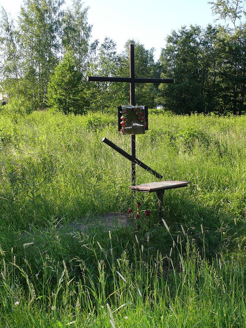 Крест-кенотаф в вероятном месте расстрела Гумилёва. Бернгардовка (долина реки Лубьи)