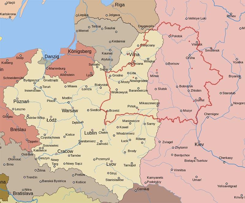 Границы, установленные в соответствии с Рижским миром. Источник: history-belarus.by