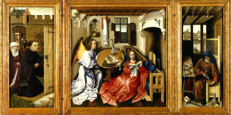Алтарь Мероде (известен также как Триптих Благовещения), ок. 1427—1432, Клойстерс, Нью-Йорк